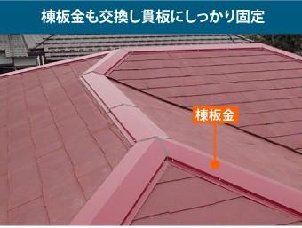 棟板金も交換し貫板にしっかり固定