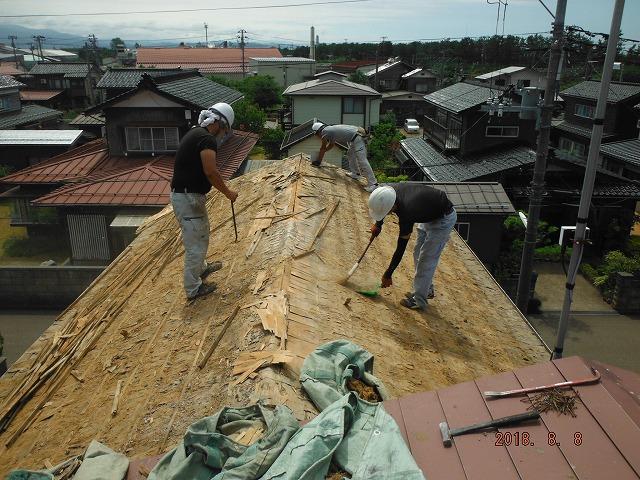 屋根下地撤去