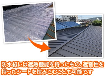 防水紙には遮熱機能を持ったもの、遮音性を持ったシートを挟みこむことも可能です
